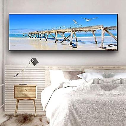 N / A Naturaleza Olas océano Cielo Nubes Aves Marinas Panorama Carteles e Impresiones Lienzo Mural imágenes del Paisaje Sala de Estar sin Marco Pintura 31cmX84cm