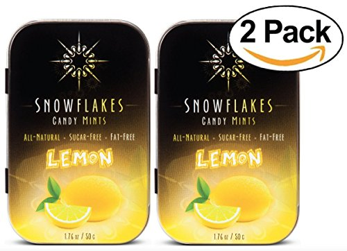 (Lemon Xylitol Candy Chips (2-Pack) - Snowflakes (2) 50g Tins - Handcrafted with ONLY 2 Ingredients | Diabetic-friendly, Non-GMO, Vegan, GF & Kosher | Purest sugar-free candy in the)