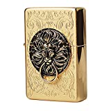[Zippo] Lion Gate Gold Lighter / Genuine Authentic / Original Packing (6 Flints set Free Gift)