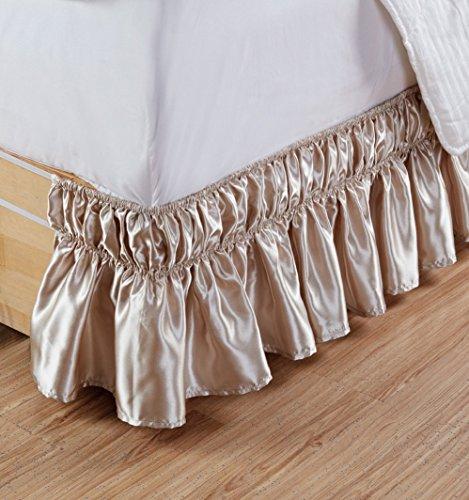 US Bedding Super soft & Silky Satin 1 PC Elastic Wrap around Bed Skirt (Beige, King XL, Drop length 20 ()