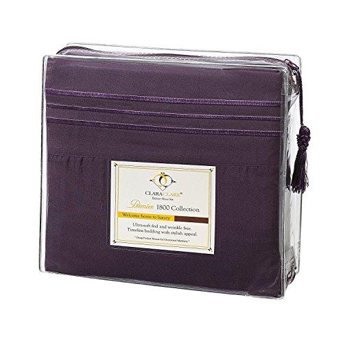 Clara Clark Premier 1800 Series 4pc Bed Sheet Set - Queen, Eggplant Purple, Hypoallergenic, Deep Pocket