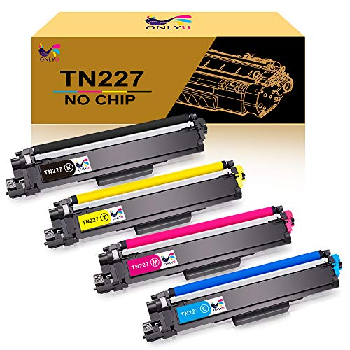 ONLYU No Chip Compatible Toner Cartridge Replacement for Brother TN227 TN-227 TN227BK TN223 TN 227 for HL-L3210CW HL-L3230CDW HL-L3270CDW HL-L3290CDW MFC-L3710CW MFC-L3750CDW MFC-L3770CDW - 4 Pack