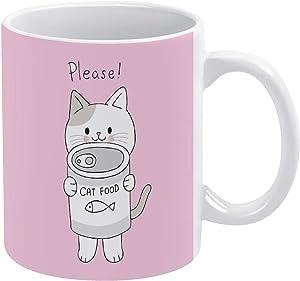 Cartoon Cute Cat And Can Food Vector Ceramic Coffee Mug Funny Tea Cup 11 Oz Mug Gift
