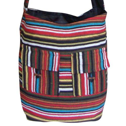 Multicolore a strisce modello in cotone Jhola Collegio Borsa