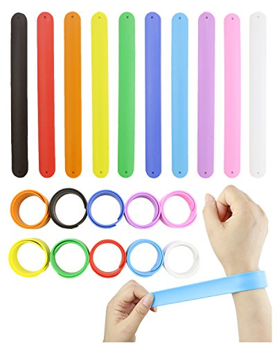 DEEBF 20Pcs Rainbow Silicone Slap Bracelets Soft and Safe for Kids Party Favors(10 Color)