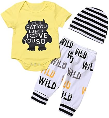 Newborn Baby Boy Clothes Monster Cartoon Letter Rompers Jumpsuit Tops Pants Clothes Summer Short Clothes