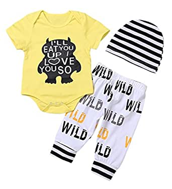 Newborn Baby Boy Clothes Monster Cartoon Letter Rompers Jumpsuit Tops Pants Clothes Summer Short Clothes (Yellow Short 0-6 Months)