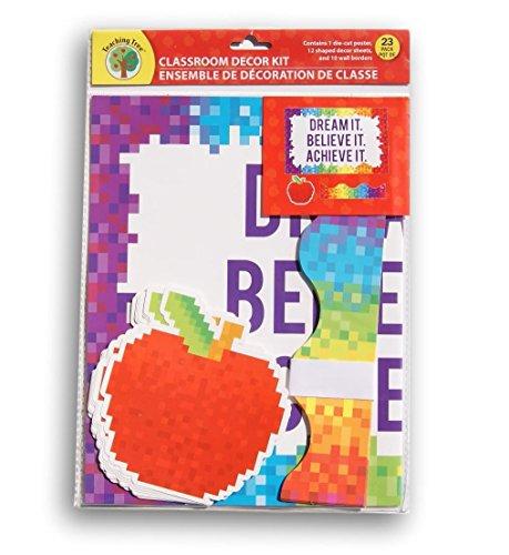 Teaching Tree Classroom Decor - Dream It Believe It Achieve It Pixel Theme - 23 (Classroom Decor Themes)