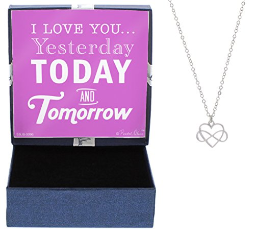 Gifts for Girlfriend Silver-Tone Love You Yesterday Today Tomorrow Infinity Heart Necklace Jewelry Box Dating Anniversary Love You More Necklace Christmas Gifts for Girlfriend