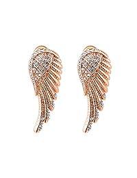 Dovewill Women's Party Jewelry Rose Gold Alloy Angel Wings Crystal Ear Studs Earrings