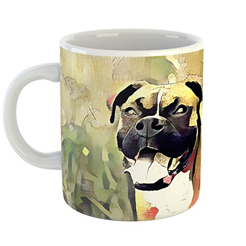 Westlake Art - Boxer Dog Coffee Mug 11 oz - Modern Abstract Artwork for Home Office Decoration Unique Gift Idea