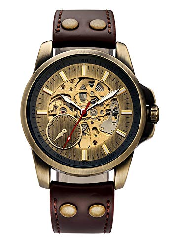Carrie Hughes Men's Bronze Steampunk Automatic Mechanical Skeleton Brown Leather Watch(CH240)