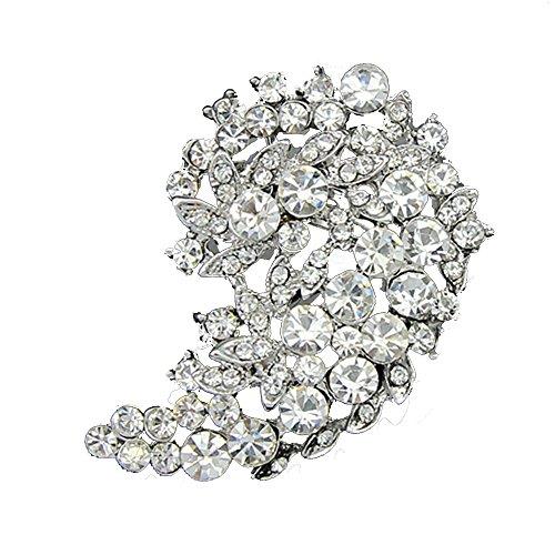 Grace Womens Retro Leaves Brooch Wedding Corsage Crystal Metal Rhinestones Accessories Pin 12 ()