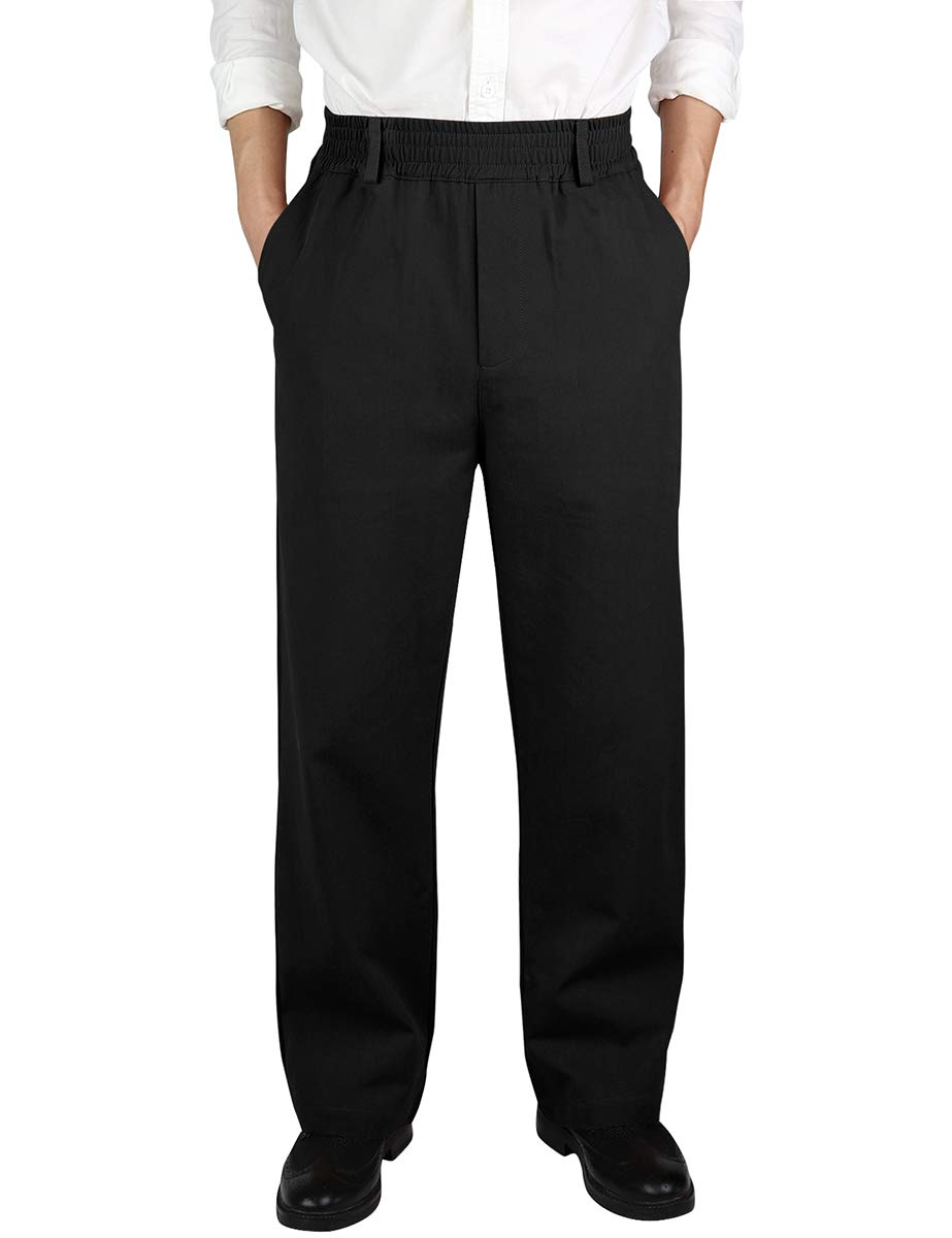 IDEALSANXUN Men's Casual Relaxed Fit Elastic Waist Twill Pant (Black(Twill), 36)