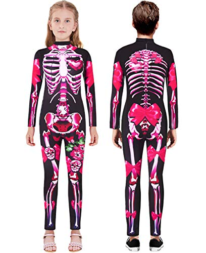 Scary Halloween Costume for Girls 13-14T Novelty Skeleton Cosplay Bodysuit Long Sleeve Zipper Back One-Piece Outfit
