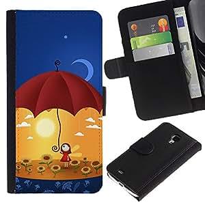 Ihec-Tech / Flip PU Cuero Cover Case para Samsung Galaxy S4 Mini i9190 MINI VERSION! - Cute Umbrella Girl
