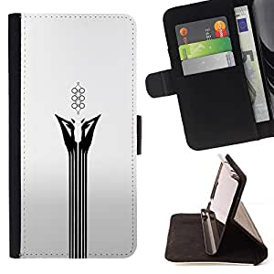 Momo Phone Case / Flip Funda de Cuero Case Cover - Resumen Cara Blanca;;;;;;;; - Samsung Galaxy J3 GSM-J300