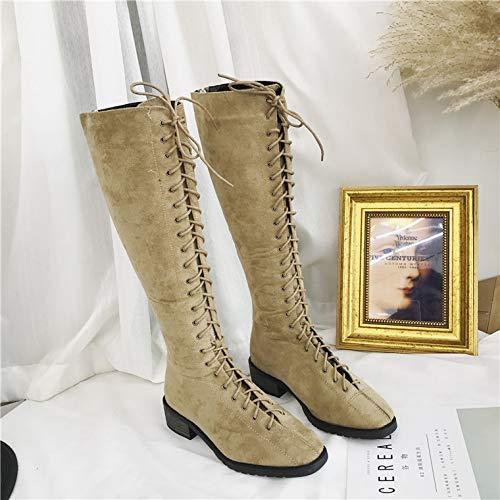 Shukun Stiefeletten Herbst und Winter Martin Stiefel weiblich dick mit hohen Stiefeln hohe Stiefel Lange Stiefel mit Stiefeln Aber Kniestiefel