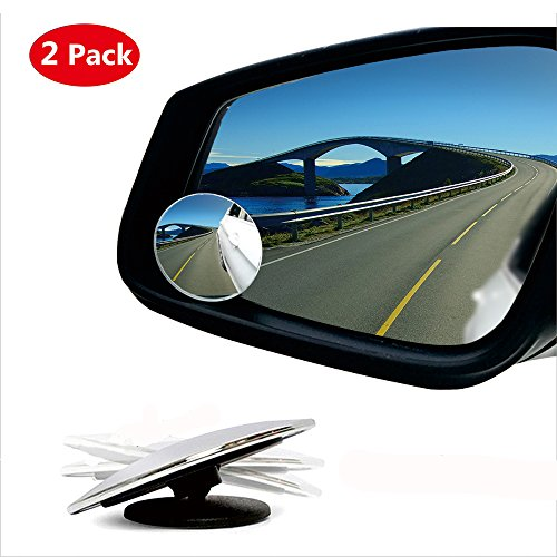 Blind Spot Mirror,HD Glass Wide Angle Slim Round Frameless Convex Rear View Mirror 360°Rotate 30°Sway Adjustable Great for Car SUV Truck Van(2 Pack) - Diameter Blind Spot