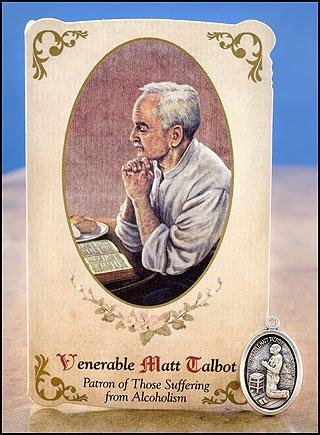 Venerable Matt Talbot  Alcoholism  Healing Holy Card With Medal