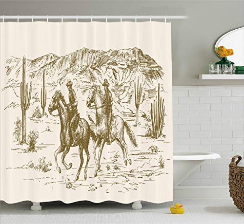 Ambesonne Western Shower Curtain by, Country Theme Hand Drawn Illustration of American Wild West Desert with Cowboys, Fabric Bathroom Decor Set with Hooks, 70 Inches, Cream Umber ()