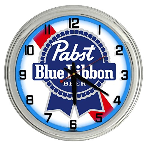 Pabst Blue Ribbon Beer Blue Neon clock from Redeye