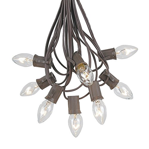 Novelty Lights C7 Clear Christmas Lights Set - Indoor/Outdoor Christmas Light String - Christmas Tree Lights - Hanging Christmas Lights - Outdoor Patio String Lights - Brown Wire - 25 Foot