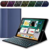 iPad Keyboard Case for New 2017 iPad, iPad Pro 9.7, iPad Air 1 and 2 – Bluetooth Backlit Detachable Quiet Keyboard – Slim Leather Folio Cover – 7 Color Backlight – Apple Tablet (9.7, Dark Blue)