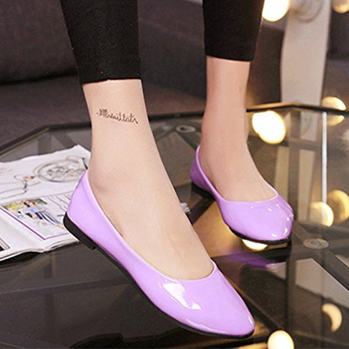 Fheaven Women Flats Shoes Simple Slip On Casual Candy Color Shoes Ballet Flats Loafers Purple BzmKx0hfC