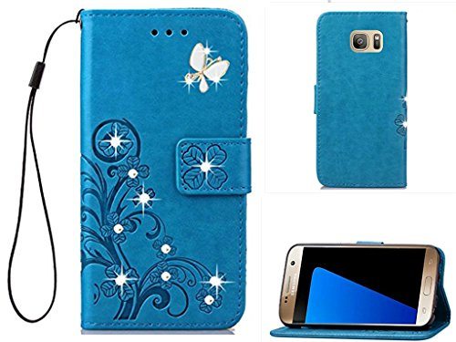 Price comparison product image Galaxy S7 Edge 3D Handmade Beauty Crystal Rhinestone Case, Inspirationc Bling Fashion Butterfly Lucky Flowers PU Leather Credit Card ID Stand Holders Wallet Cover for Samsung Galaxy S7 Edge--Bling Blue