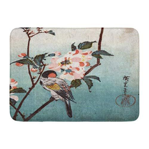 dolphin Ty Bath Mat Japan å...«é‡æ¡œã« åºƒé‡ Cherry Blossom Bird Hiroshige Ukiyo Bathroom Decor Rug