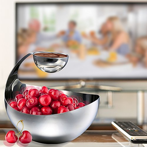 Stainless Steel Chips and Dip Bowl - Entertain in Style with Small Tiered Divided Serving Dish Holder for Dips, Appetizers, Condiments, Salsa, Salad, Sauces in Serveware by Pro Chef Kitchen Tools