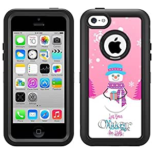 Skin Decal for Otterbox Defefender Apple iPhone 5C Case - Joyful Snowman with Gift on Pink