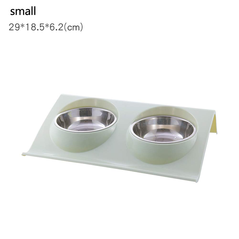 Green small Green small High-end Creative cat and Dog Stainless Steel Bowl, pet Feeding Bowl and Water Bowl Perfect Choice (Set of 2),Green,Small