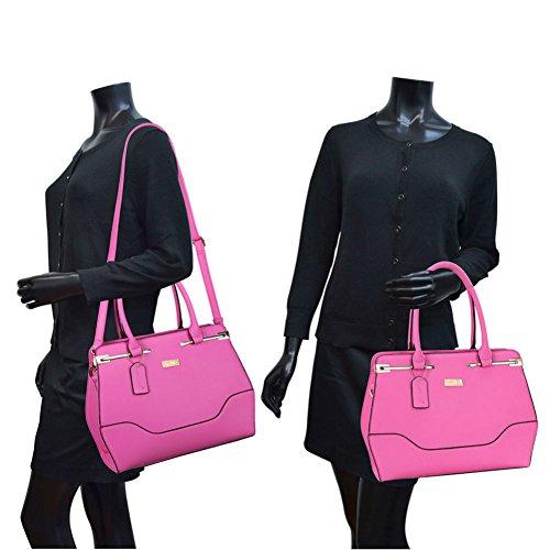 Top Handle Handbag Zip Purse Fashion Shoulder Bag Structured Crossbody Satchel Vegan Leather Blue by Dasein (Image #7)