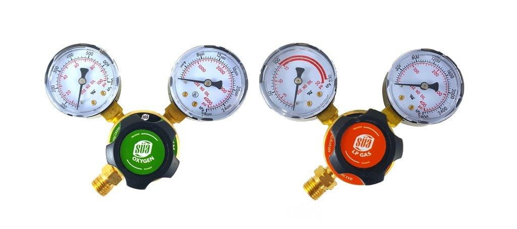 SÜ A - Oxygen and Propane/Propylene Regulators Welding Gas Gauges -Pair - Rear Entry - LDP series SÜA
