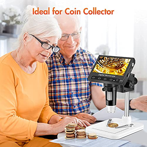 """Coin Microscope, Elikliv 4.3"""" LCD Digital Microscope 1000x, USB Coin Microscope for Error Coins with Lights for Kids Adults, PC View, Windows Compatible"""