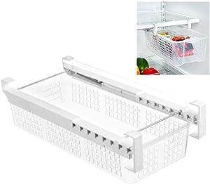 blue--net Fridge Organizer Basket - Smart Design Refrigerator Pull Out Drawer Bins Fridge Shelf Holder for Kitchen Fridges Freezers Food Storage Transparent