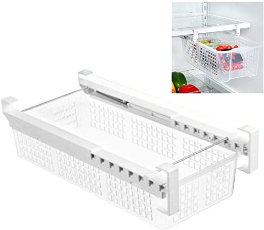 Household Refrigerator Freezer Storage Box Pull-out Food Organizer Drawer Rack