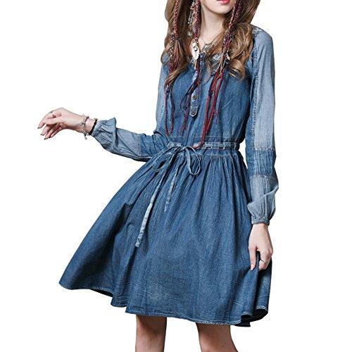 Blau Damen Langarm Denim E Kleid LHA6550 Midi girl Kleider Partykleid Linie A FqFPxHtw