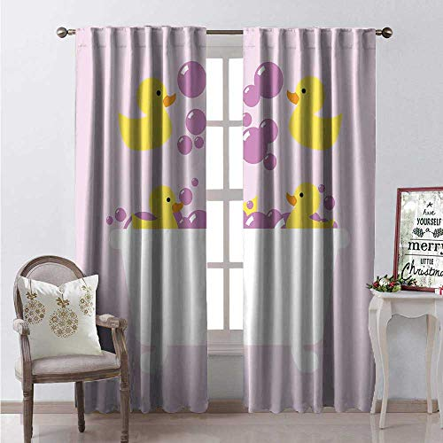 Hengshu Duckies Room Darkening Wide Curtains Abstract Floating Yellow Rubber Ducks Purple Bubbles in a Tub Design Decor Curtains by W96 x L84 Lilac Purple Yellow