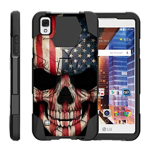 TurtleArmor | Compatible with LG Tribute HD Case | LG Volt 3 | LG X Style [Dynamic Shell] Hybrid Dual Layer Hard Shell Kickstand Silicone Case - US Flag Skull (For Girls Volt Cases Phone Lg)