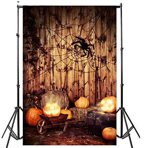 Halloween Photography Backdrops 5x7ft Straw Haystack Pumpkins Spider Net Vintage Stripes Wood Wall Backdrop Party Decorations Photo Background for Kids Adults Thanksgiving Day Photo Studio Prop