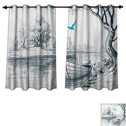 Landscape Blackout Curtains Panels for Bedroom Boat on Calm River Trees Birds Twigs Sketch Drawing Clipart Water Minimalist Decor Curtains White Gray Blue W63 x L72 (Louis Cardinals Money Clip)