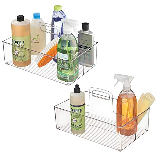 mDesign Plastic Portable Storage Organizer Caddy Tote, Divided Bin, Handle for Bathroom, Kitchen Laundry/Utility Closet - Holds Cleaning Supplies, Window Cleaner, Dust Cloths - Large, 2 Pack - Clear