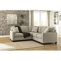 Ashley Alenya 16600-55-67 2PC Sectional Sofa with Left Arm Facing Loveseat Right Arm Facing Sofa Pillows with Print Pattern and Track Arms in