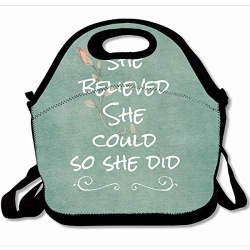 Ahawoso Reusable Insulated Lunch Tote Bag Vintage Pink Rose With Quote Aqua Teal Inspirational She Believed She Could So She Did 10X11 Zippered Neoprene School Picnic Gourmet Lunchbox