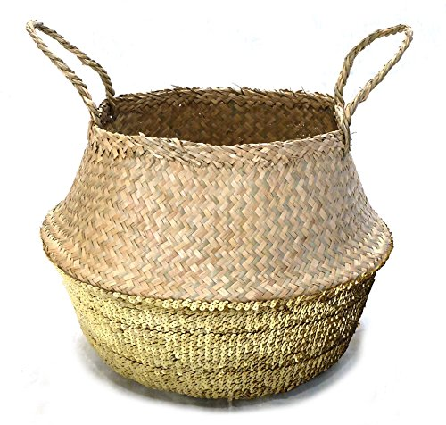 Medium Gold Sequined Seagrass Boho Belly Basket Storage Tote
