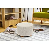 Met Life - Round Ottoman Foot Stool, 4 Leg Stands, Short Leg, Round Shape | Linen Fabric. Beige Cover