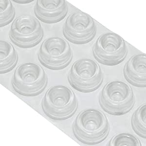 GINOYA 18pcs Furniture Bumpers, Silicone Adhesive Clear Bumpers Noise Dampening for Door Cabinet Drawers